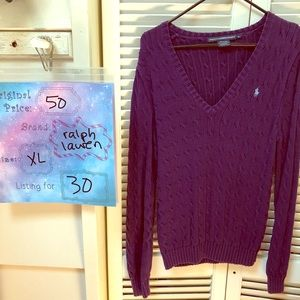Purple Ralph Lauren Sweater with Polo Logo